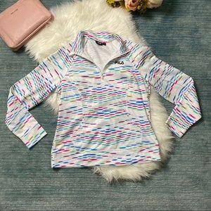 Fila White Diamond Print Quarter Zip Sweater